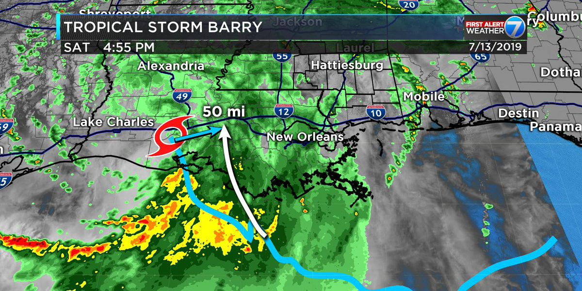 First Alert: Barry weakens, Pine Belt flooding looking less likely