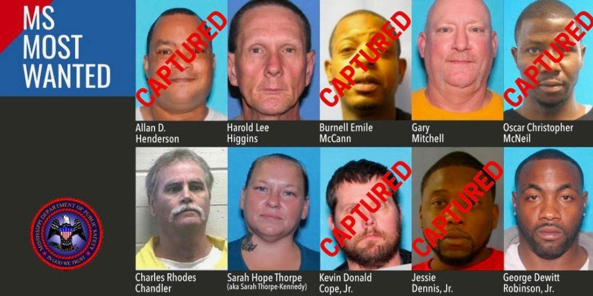Multiple Mississippi's Most Wanted suspects in custody