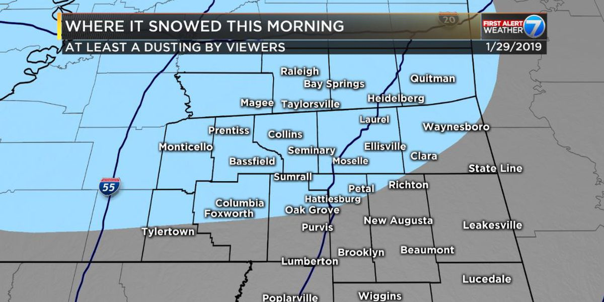 Snowy predictions make small impact in Pine Belt