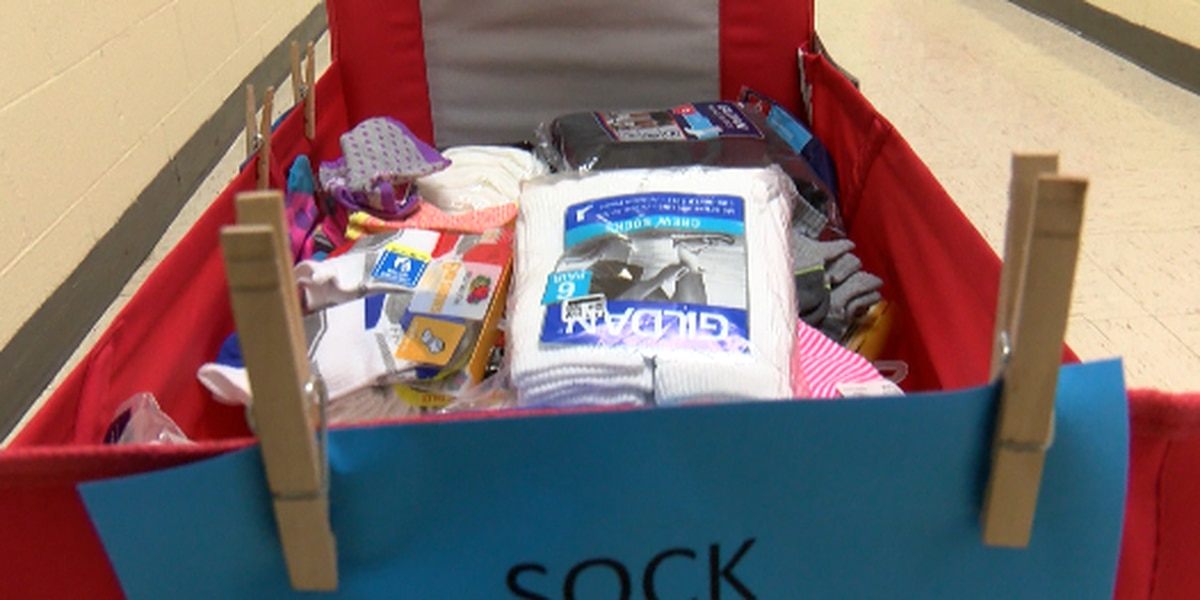 Students hold sock drive at Petal Elementary