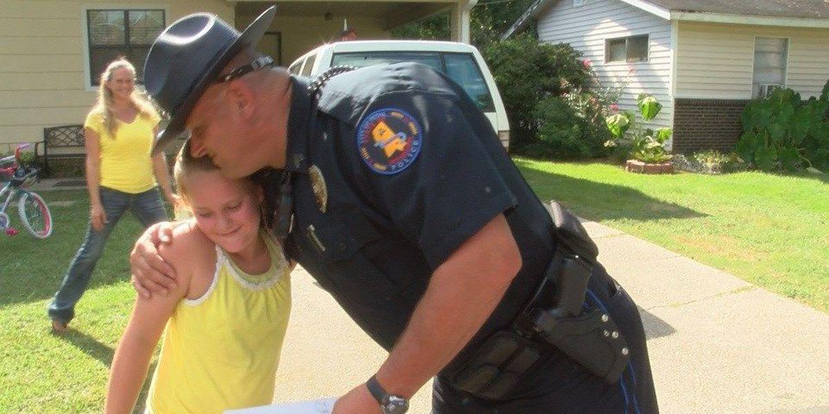 Petal policeman surprises girl with new bike