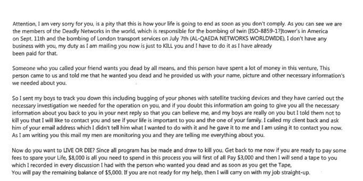 Lamar County Sheriff's Department warns of death threat email scam