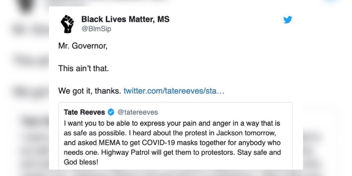 'We got it, thanks': Black Lives Matter declines Gov. Reeves' offer of PPE