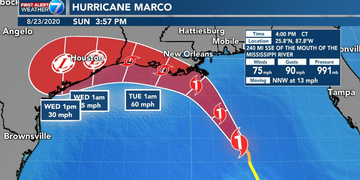 FIRST ALERT: Hurricane Marco set for Monday landfall