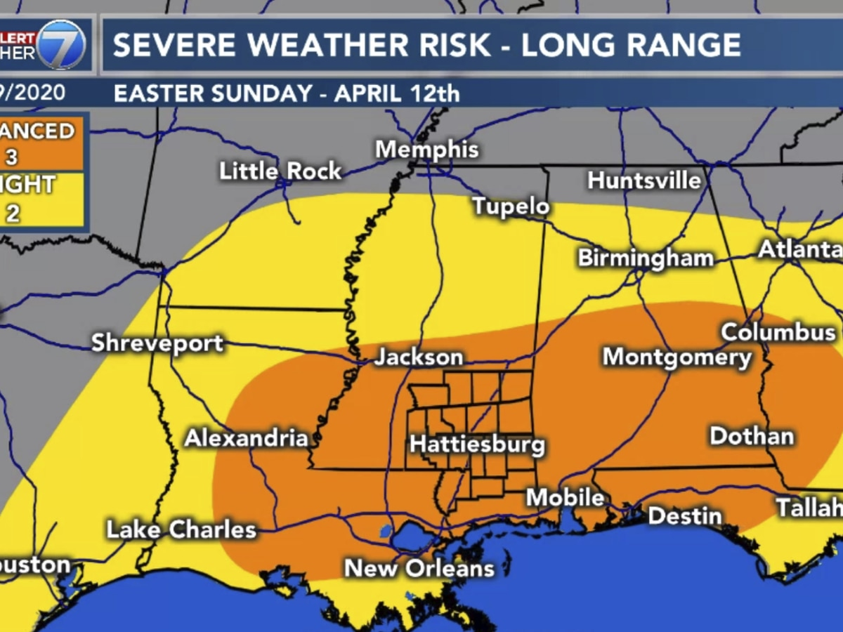 First Alert: Easter Sunday may feature severe weather for Pine Belt