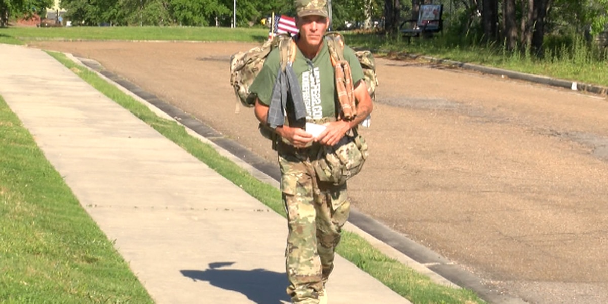 Veteran walking from Miss. to Minn. to bring awareness to veteran suicide