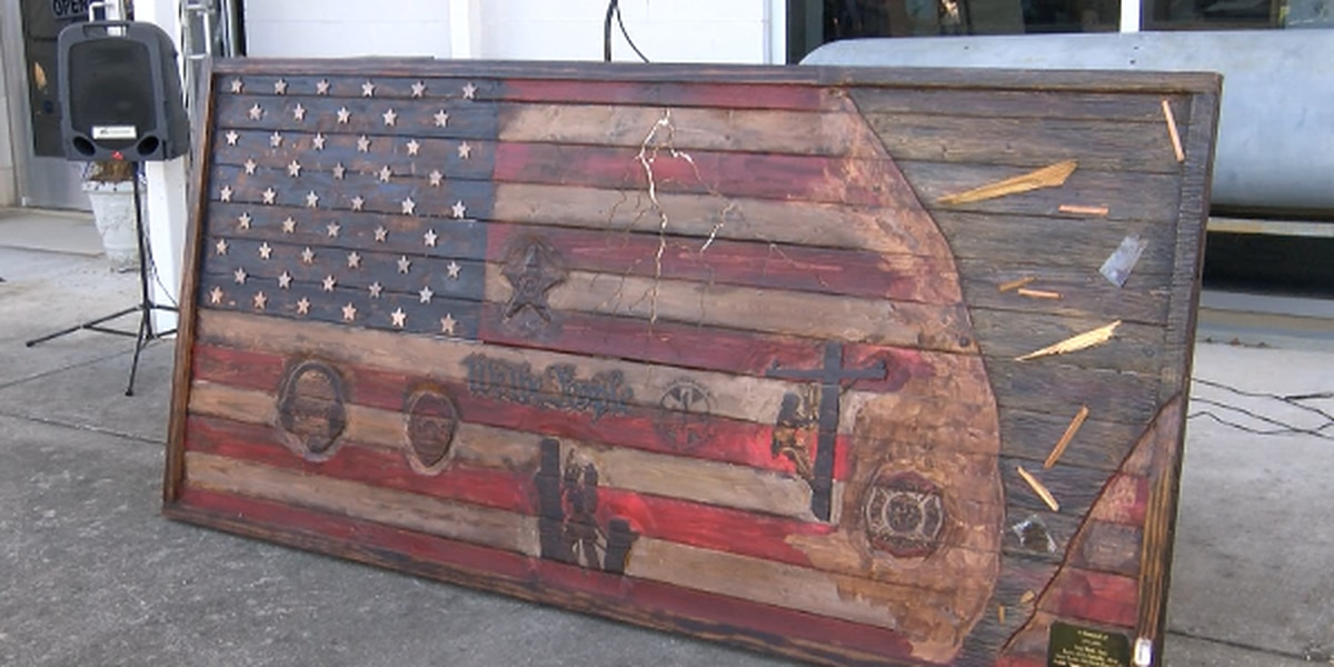 Wooden American flag donated in honor of 2020 Easter storms