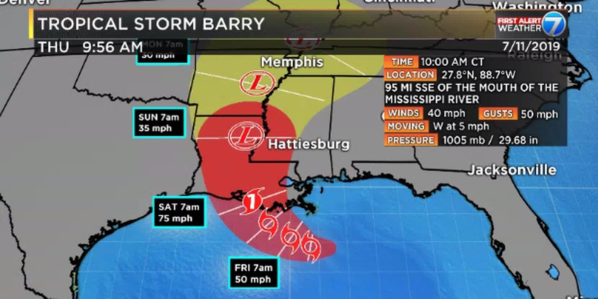 Tropical Storm Barry forms in Gulf, headed toward Louisiana, Mississippi