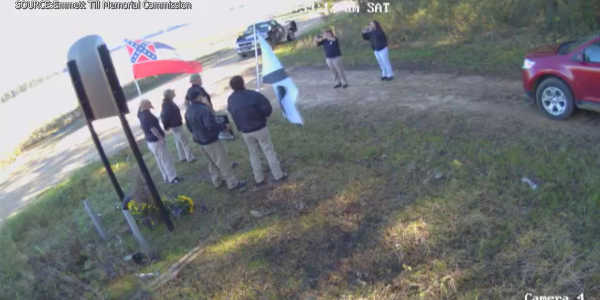 White nationalists seen filming at Emmett Till memorial