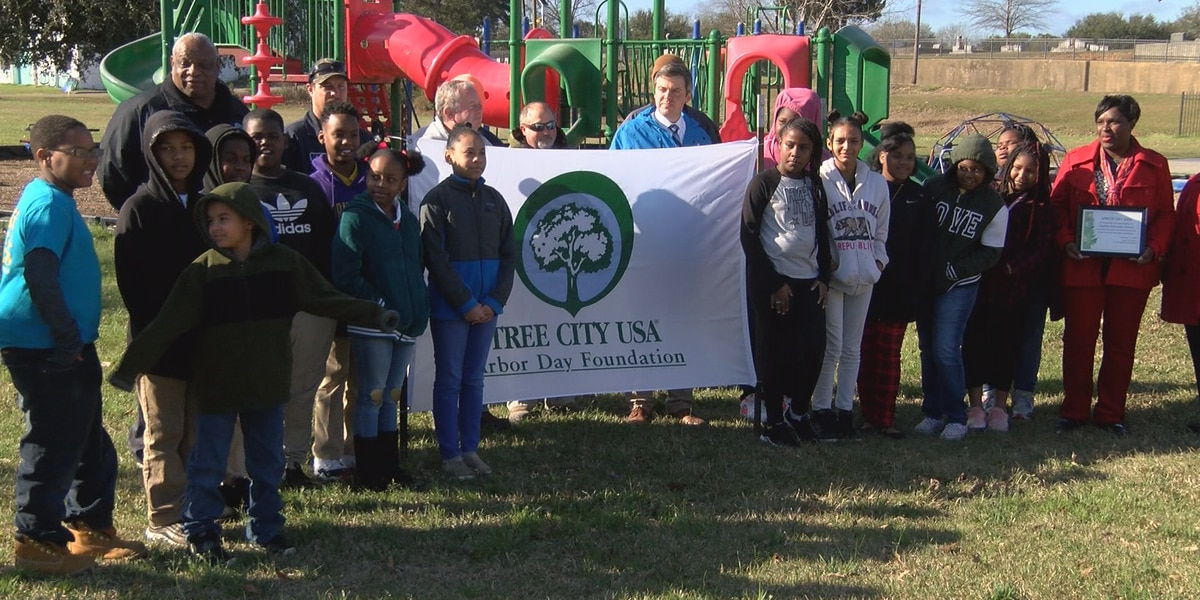 Hawkins Elementary students plant trees for Arbor Day