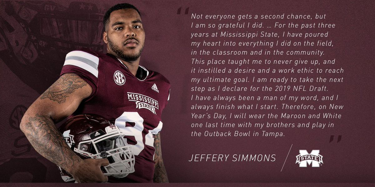 MSU DL Jeffery Simmons declares for NFL Draft