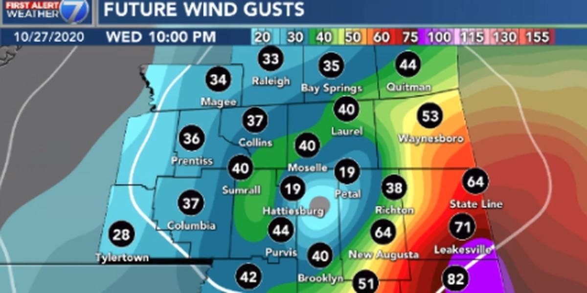 First Alert: Zeta arrives Wednesday night with heavy rain, damaging wind