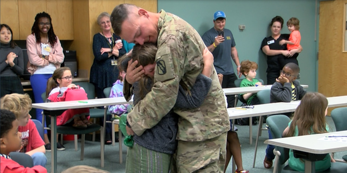 Soldier home from deployment surprises daughter at DuBard School