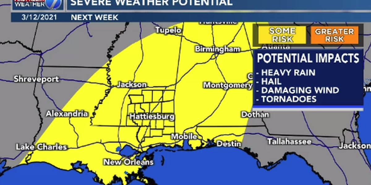 First Alert: Storms possible, some severe, next week