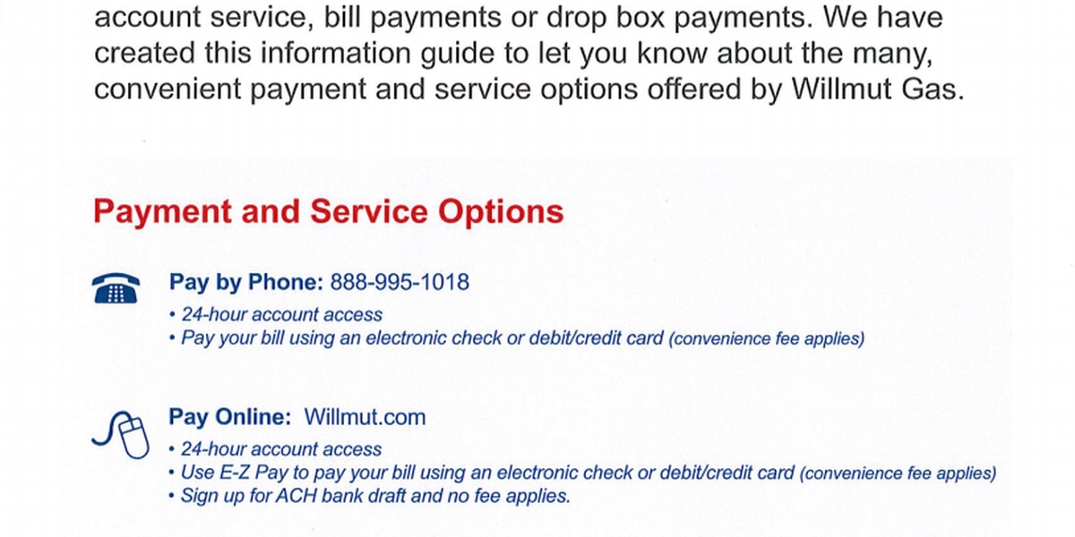 Willmut Gas to close payment centers