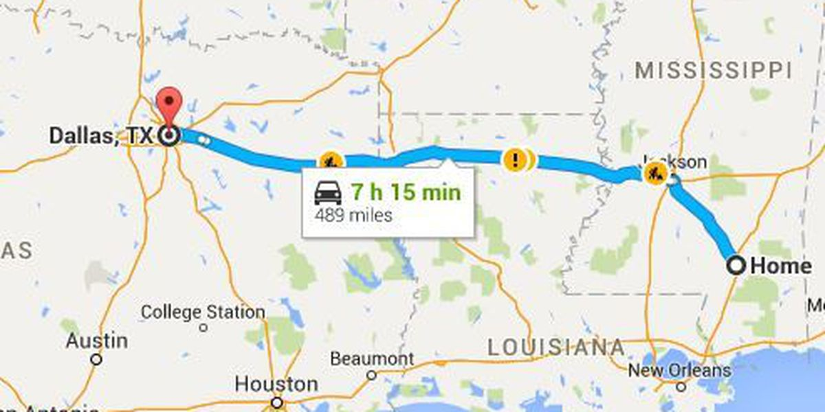 Directions from Hattiesburg to Dallas
