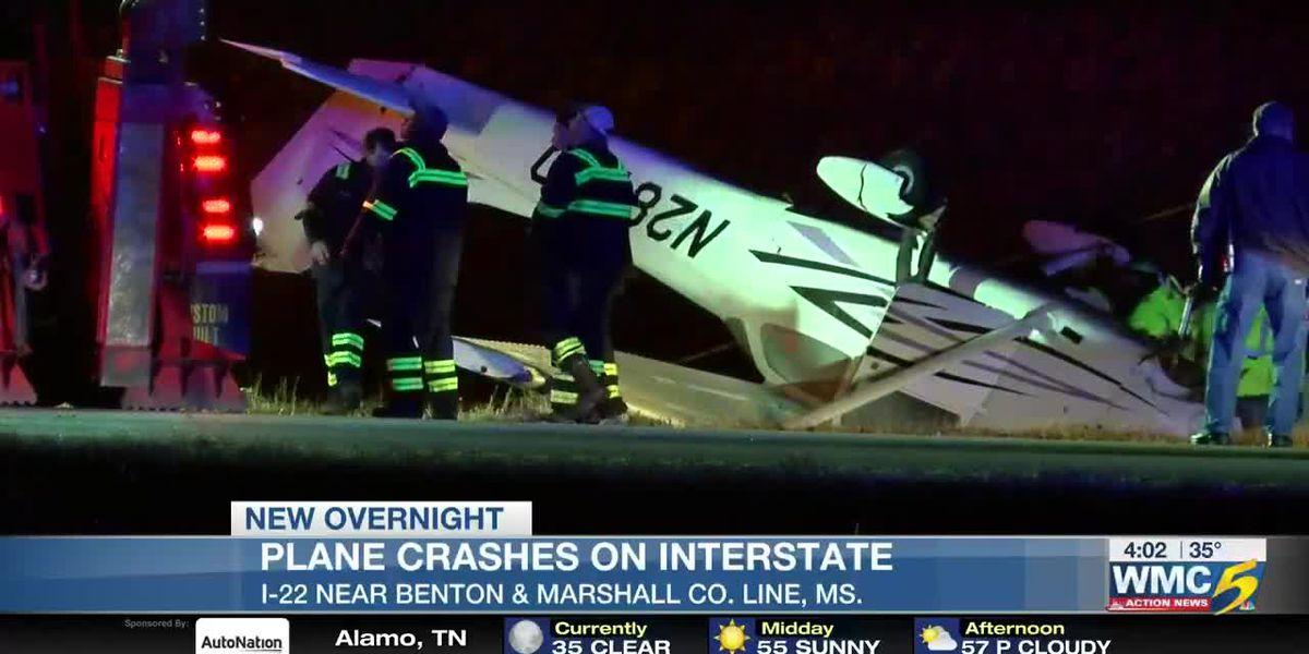 Authorities investigating plane crash on I-22 in Mississippi, pilot injured