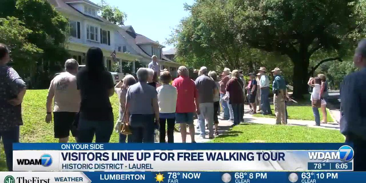 Visitors line up to take free walking tour of Laurel's historic district