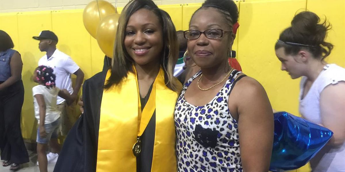 Daughter meets mother for the first time at high school graduation