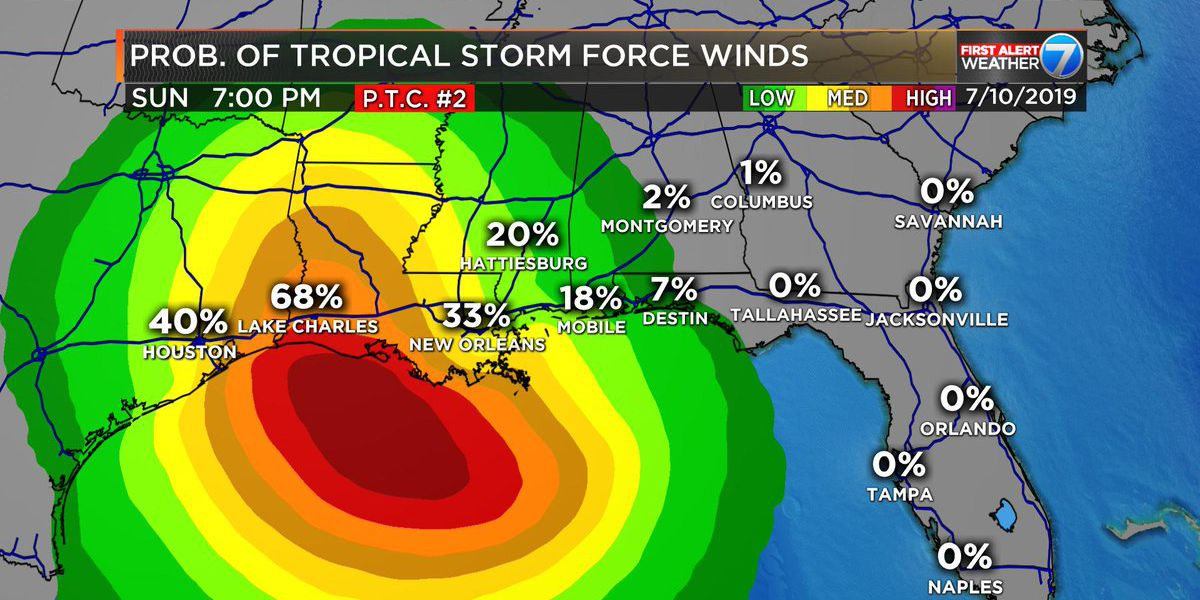 First Alert: NHC data shows flooding possible for Pine Belt from PTC-2