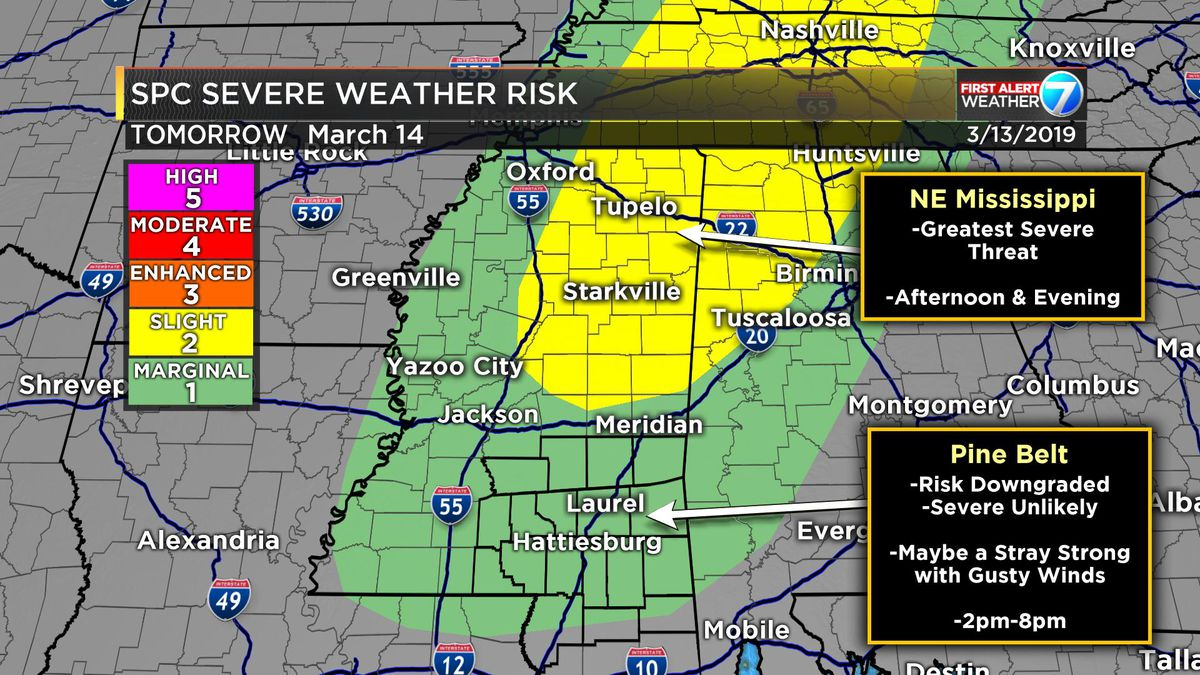 First Alert: Storms possible Thursday, but severe threat Marginal