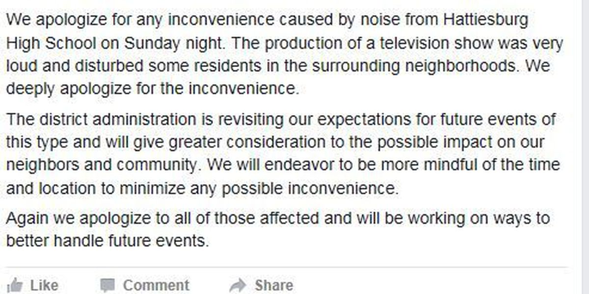 HPSD apologizes for weekend noise complaint in Facebook post