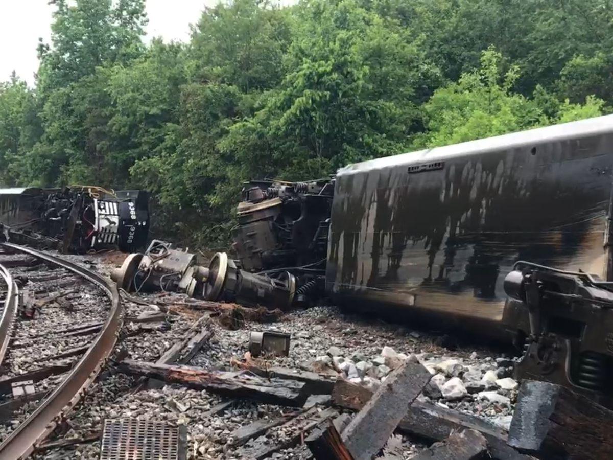 VIDEO: Train derailed, roads closed as water rises in Pearl