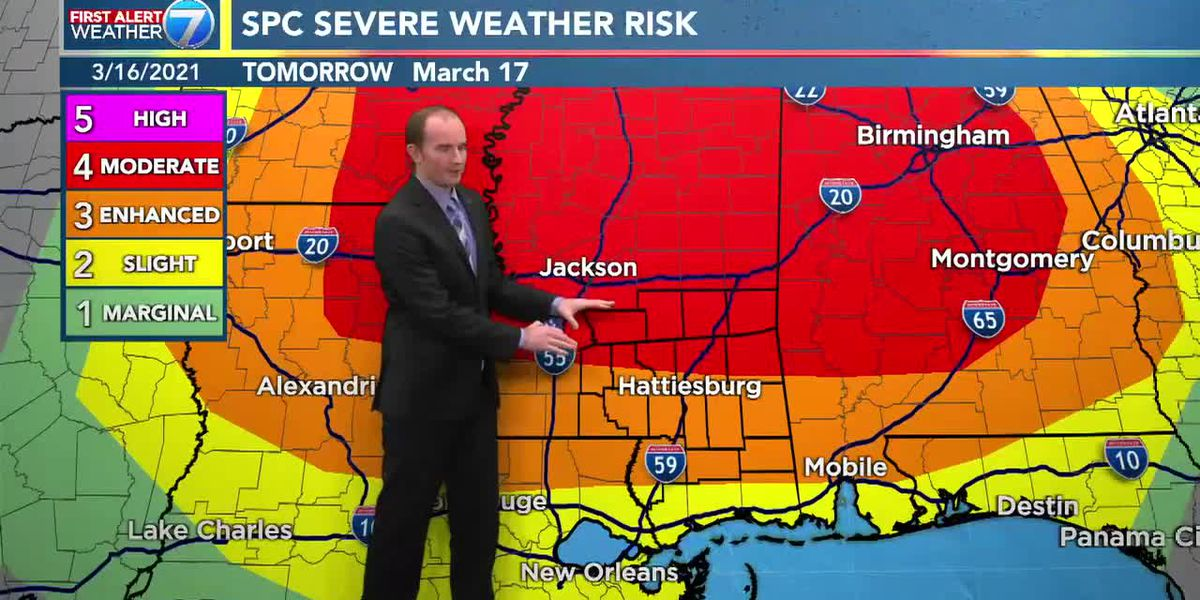 First Alert: SPC increases Pine Belt severe weather potential for Wednesday