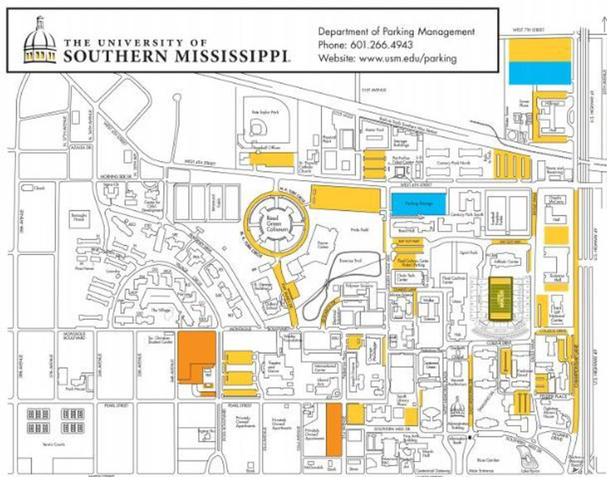usm hattiesburg campus map University Of Southern Mississippi Campus Map Map Of The World usm hattiesburg campus map