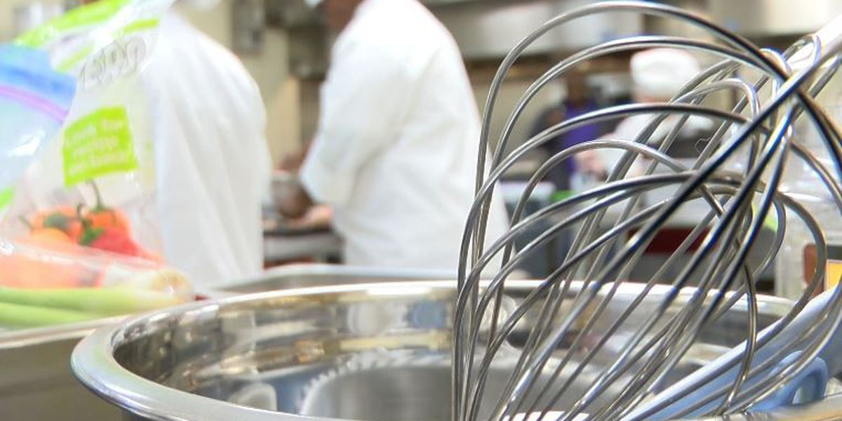 High school students mix it up in the kitchen