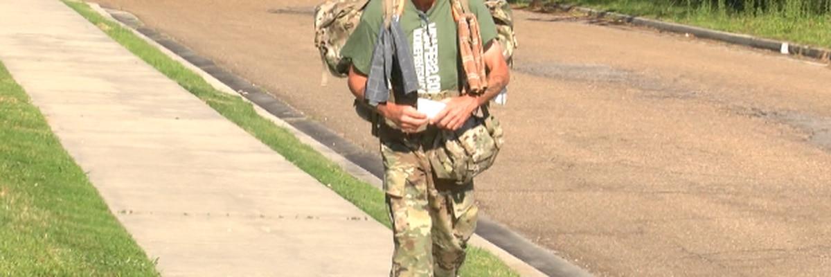 Veteran walking from Miss. to Minn. to bring awareness to veteran suicide