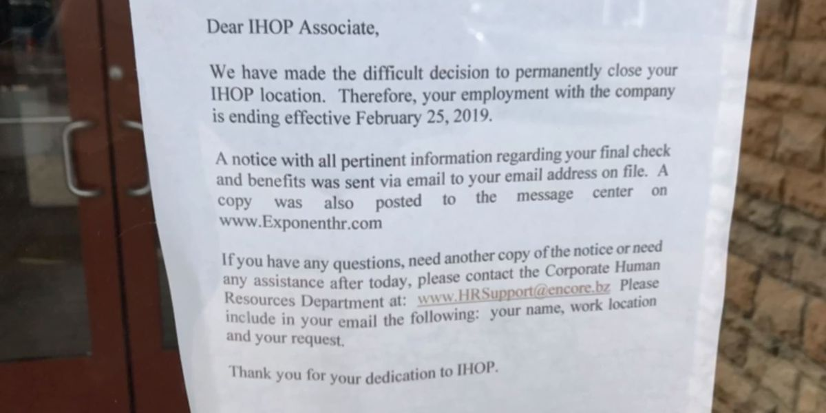 Laurel IHOP permanently closed