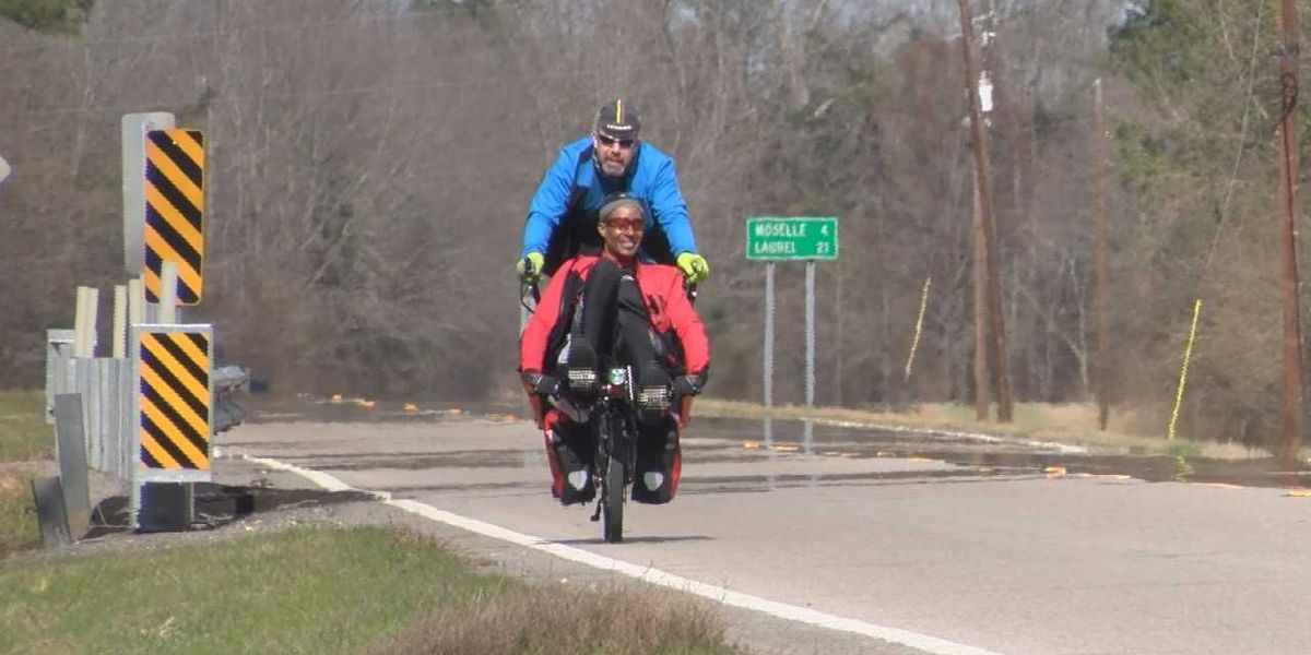 London cyclists pass through Jones County on way to Mardi Gras