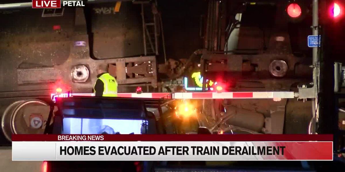 Homes evacuated after train derailment in Petal