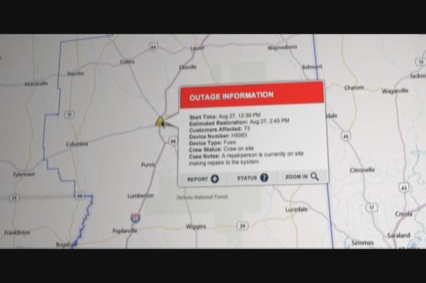 Mississippi Power Outage Map Online outage map to help Miss. Power customers