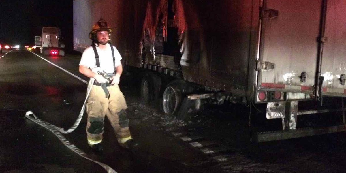 TRAFFIC ALERT: 18 wheeler fire causes traffic delays on I-59