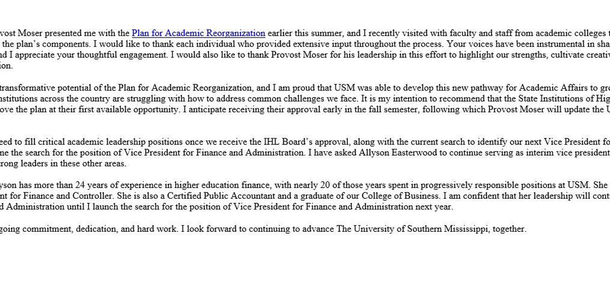USM President will ask for approval of reorganization plan