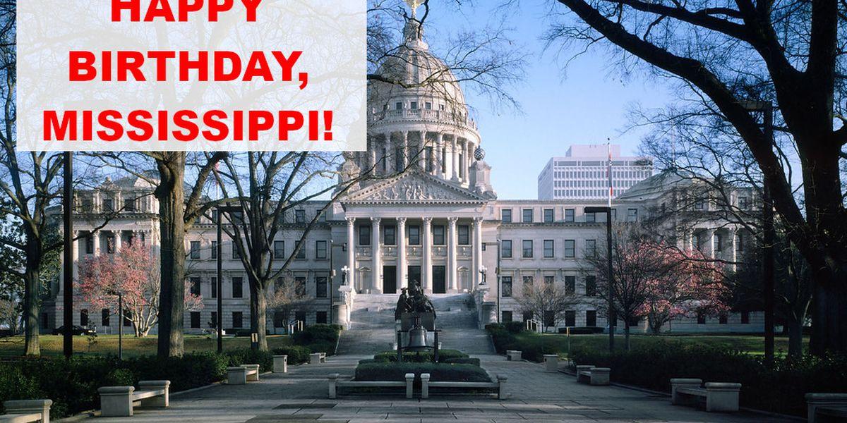 December 10 is Mississippi's birthday