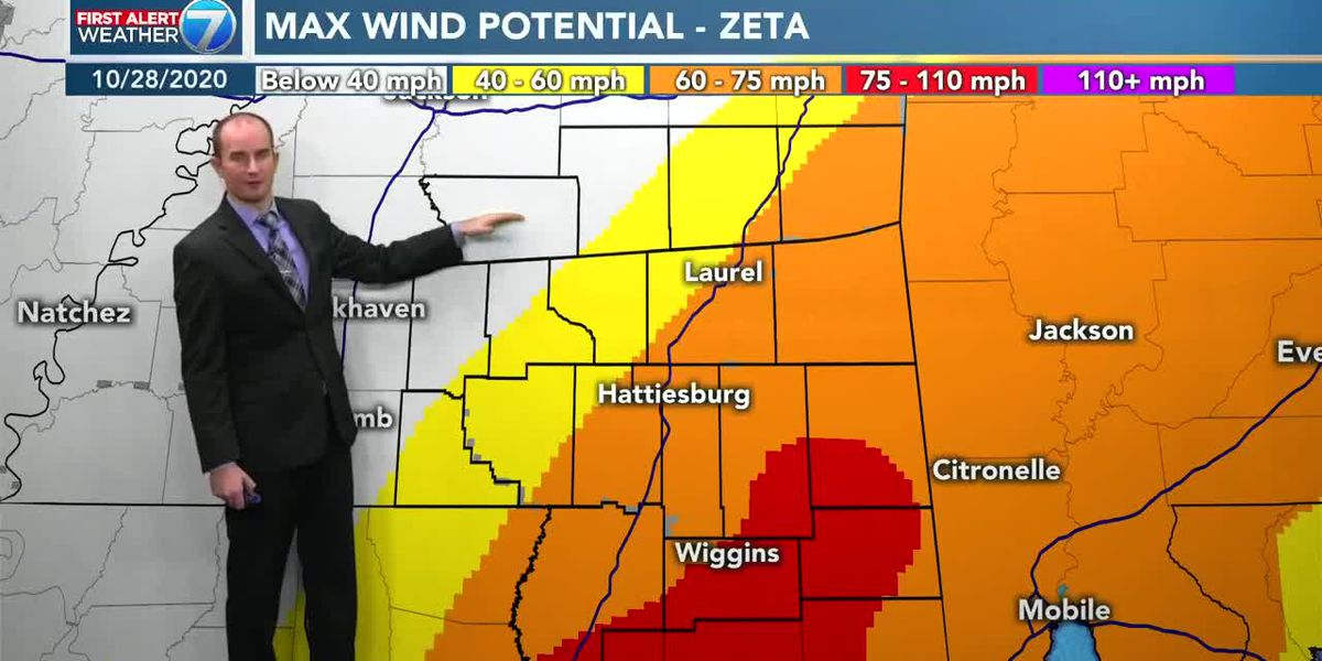 First Alert: Hurricane Zeta moving through south Mississippi
