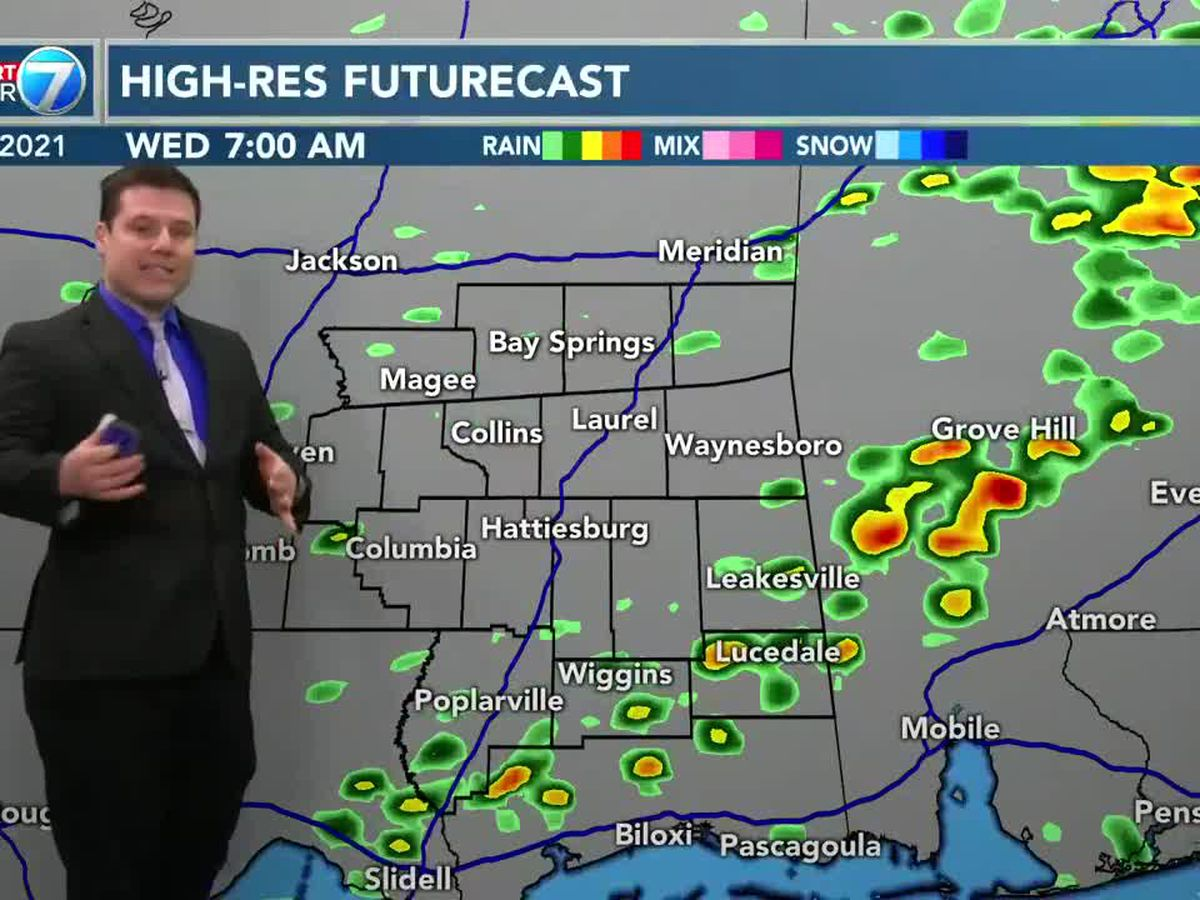 Morning showers pass through in Pine Belt