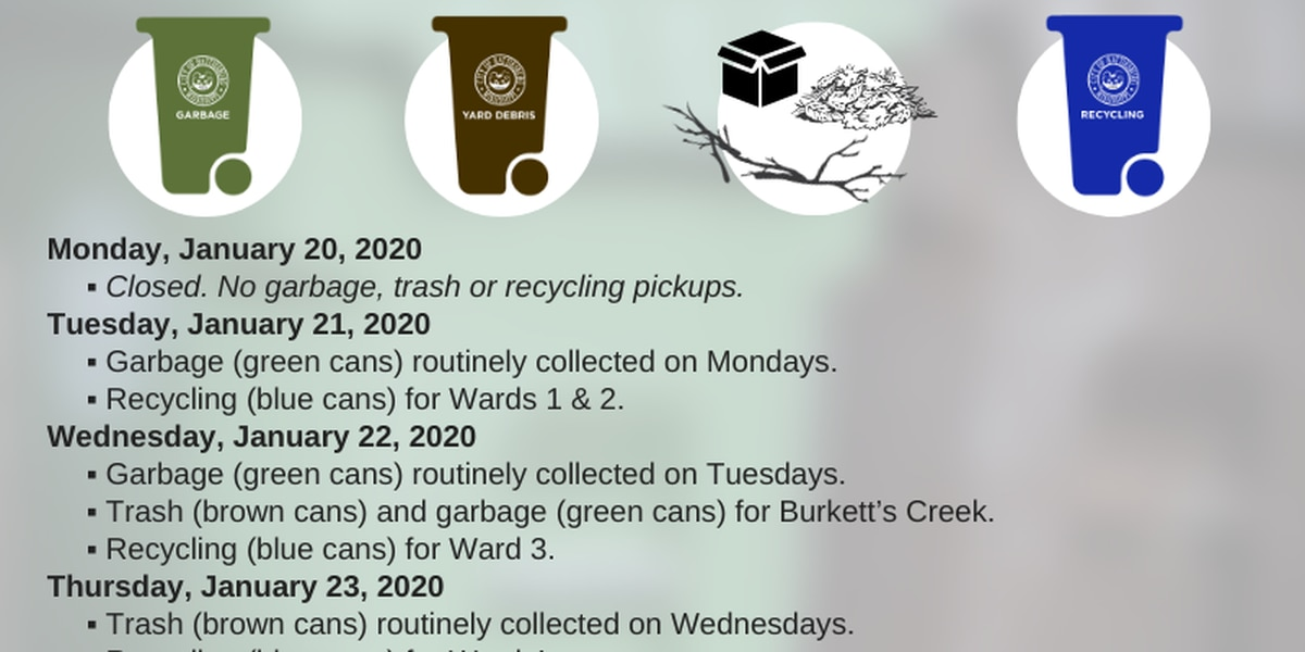 Pine Belt areas announce trash pickup schedule changes for MLK holiday