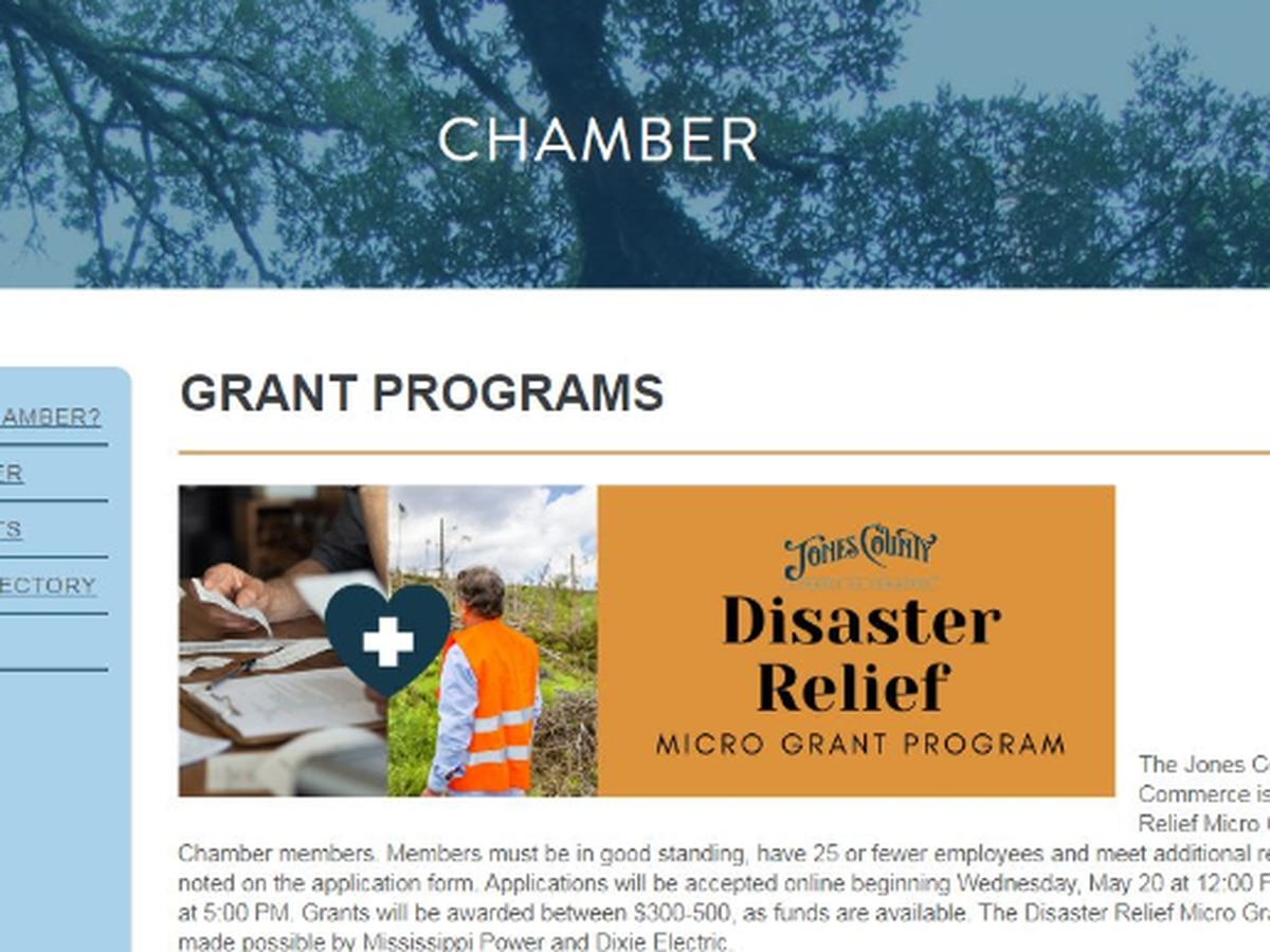Chamber of Commerce offers disaster relief money for small businesses in Jones Co.